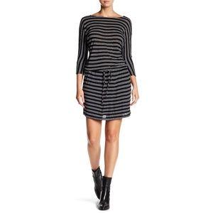 MICHAEL STARS boatneck drawstring striped dress